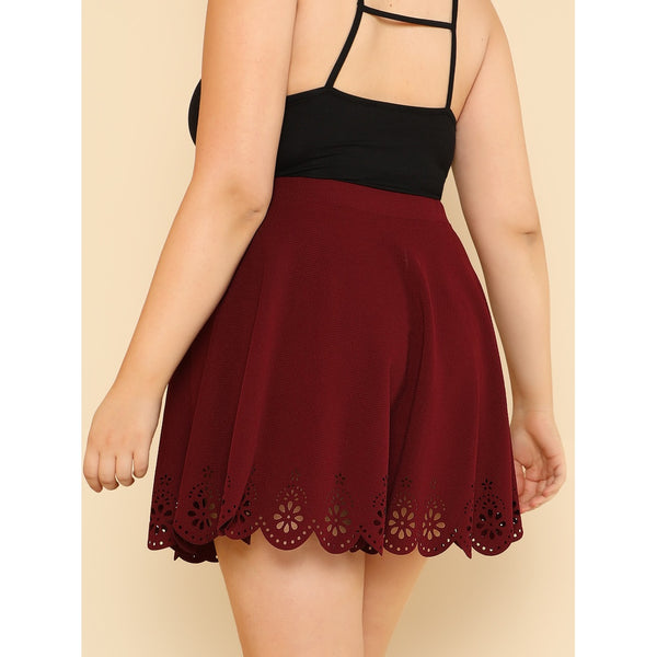 Scallop Laser Cut Flared Skirt BURGUNDY - Anabella's