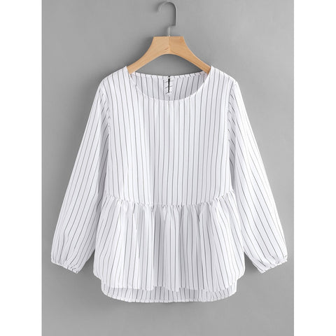 Frill Hem High Low Pinstriped Blouse