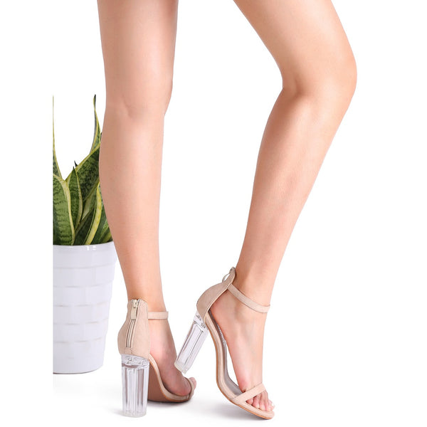 Apricot Ankle Strap Transparent Chunky Heels - Anabella's