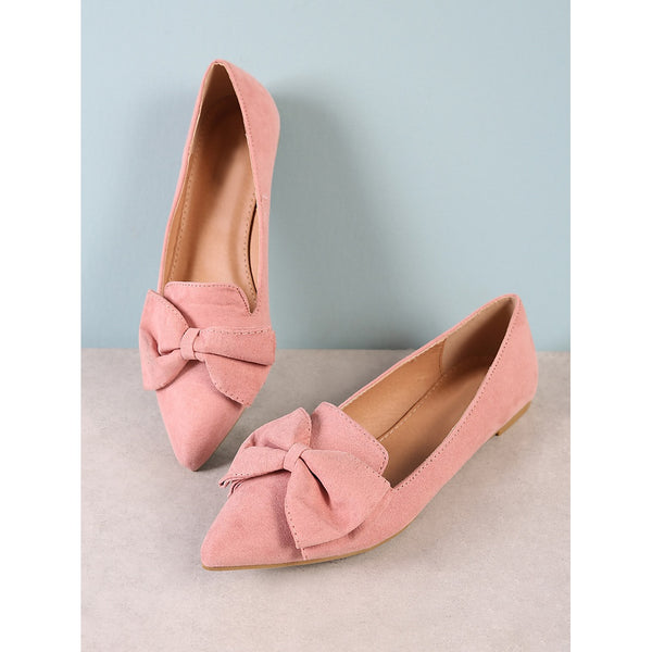 Pointy Toe Flat with Bow BLUSH - Anabella's