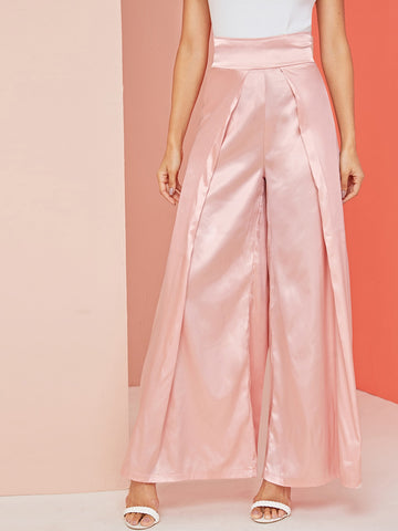 High Waist Satin Culotte Pants