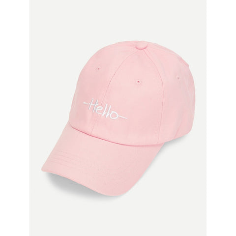 Embroidered Letter Baseball Cap HELLO Pink
