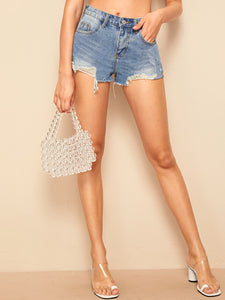 Stitch Detail Raw Hem Denim Shorts