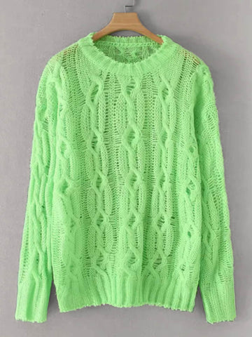 Neon Green Pointelle Knit Cable Pattern Sweater