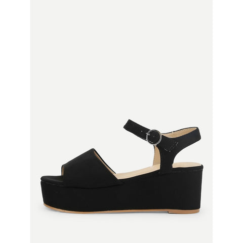 Platform Wedge Sandals Black