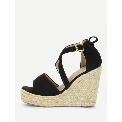 Bow Detail Platform Wedge Sandals Black