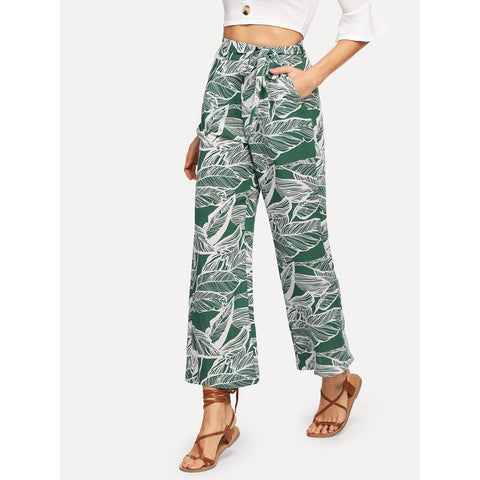 Slant Pocket Self Belted Jungle Leaf Print Pants