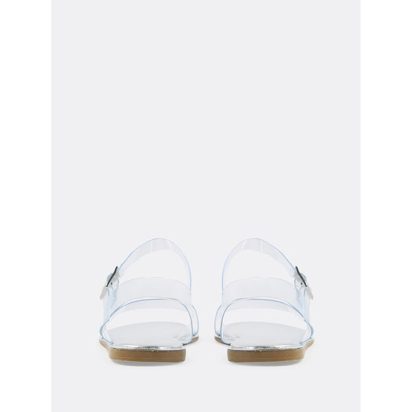 Open Toe Double Clear Strap Metallic Sandals SILVER - Anabella's