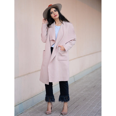 Drop Shoulder Drape Collar Wrap Coat