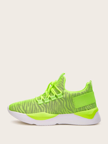 Neon Lime Zebra Stripe Knit Sneakers