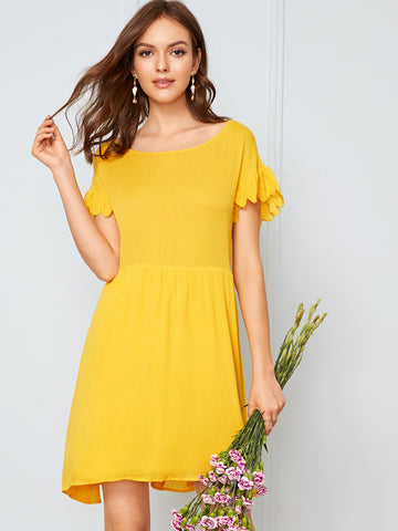 Ruffle Cuff Tie Back Solid Dress