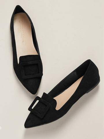Buckle Accent Pointed Toe Ballet Flats