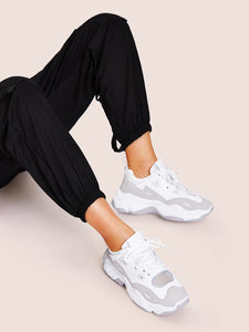 Lace-up Mesh Chunky Sneakers