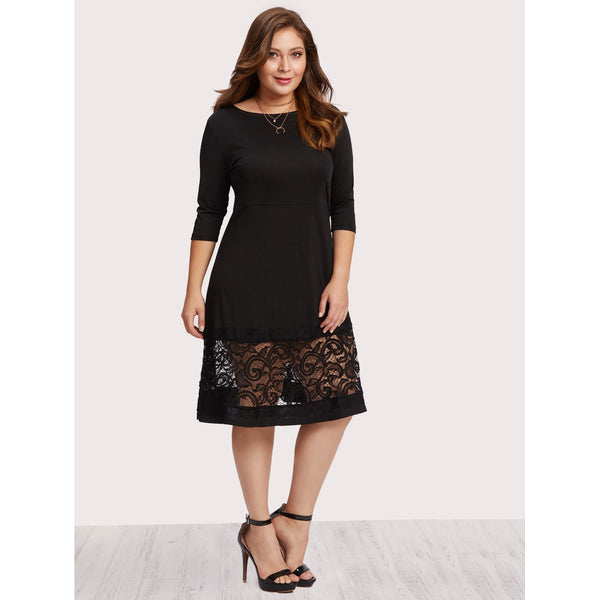 Lace Panel Dress - Anabella's