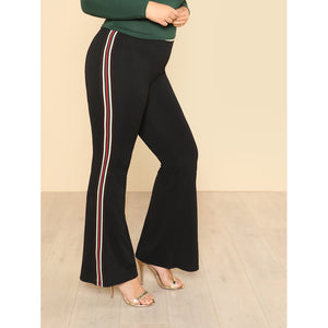 Striped Side Flare Hem Pants - Anabella's