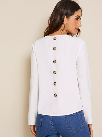 Solid Button Back Top