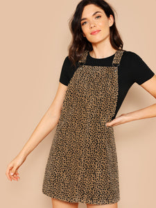 Leopard Print Pinafore Dress