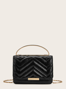Chevron Satchel Bag With Metal Handle