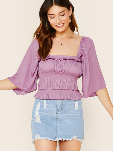 Ruched Bodice Flared Quarter Sleeve Blouse