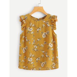 Frilled Armhole Button Closure Back Shell Top Ginger