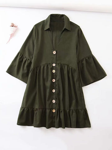 Solid Flounce Sleeve Ruffle Hem Shirt Dress