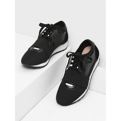 Net Surface Lace Up Sneakers Black