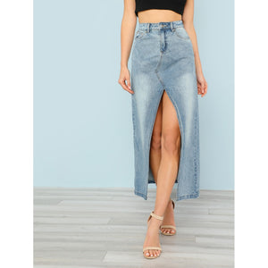 Front Slit Light Washed Denim Skirt