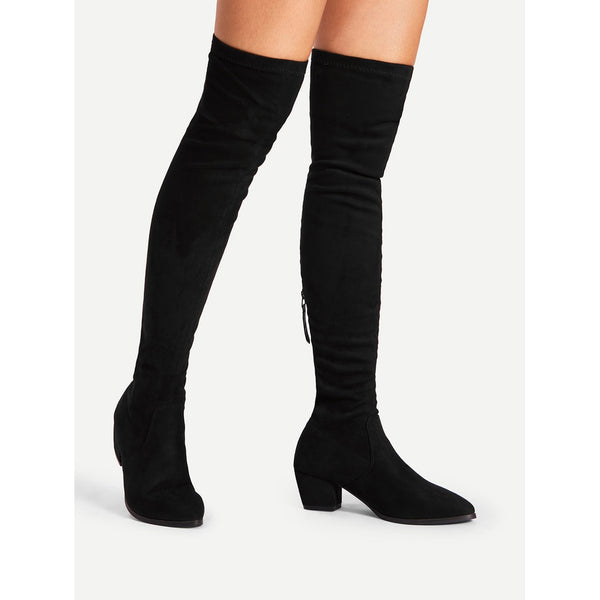 Back Zipper Block Heeled Thigh High Boots - Anabella's