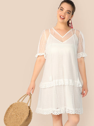 Plus Tassel Tie Neck Schiffy Trim 2 In 1 Mesh Dress