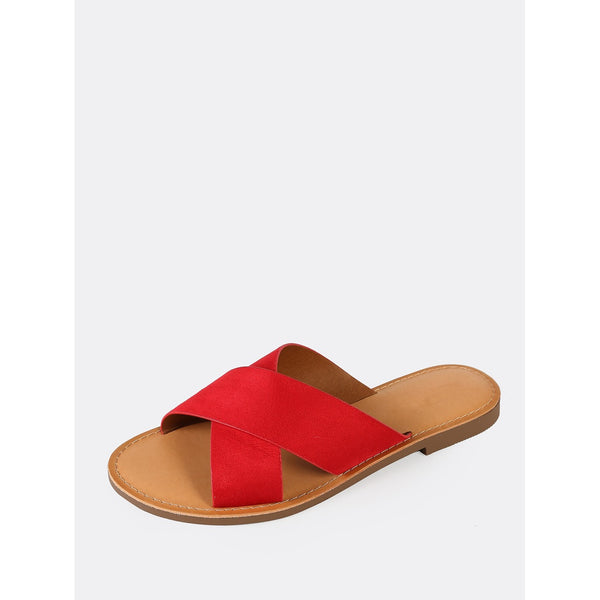 Faux Suede Criss Cross Strap Slide Sandal RED - Anabella's