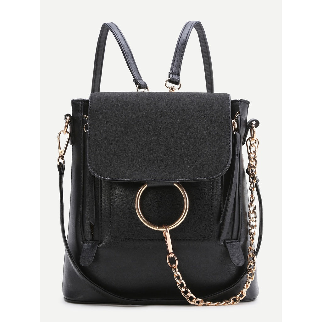 Black Ring Design PU Backpack With Convertible Strap