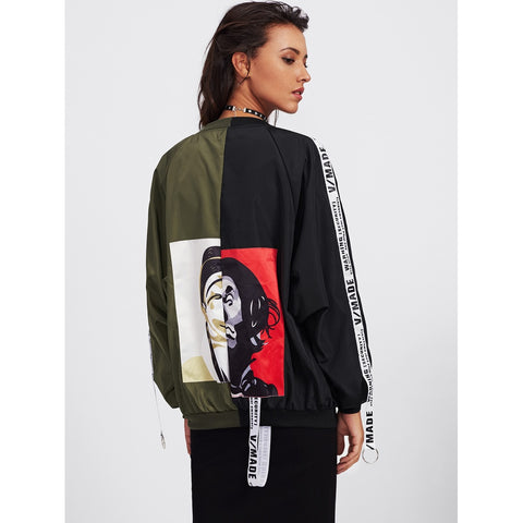 Patch Back Ribbon Detail Two Tone Bomber Jacket Oversized