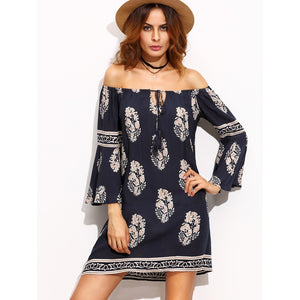Print Tie Tassel Fluted Sleeve Bardot Dress