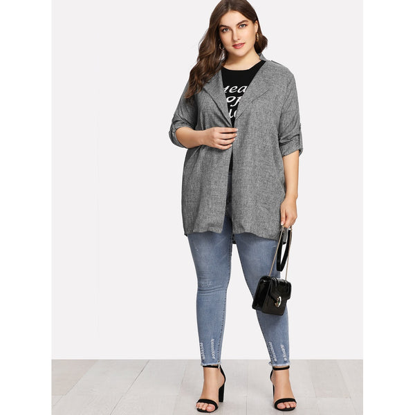 Roll Up Sleeve Coat - Anabella's