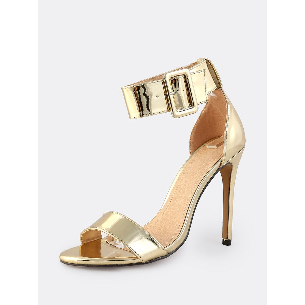 e9d24814e4 ... Thick Metallic Ankle Strap Heels GOLD - Anabella's ...