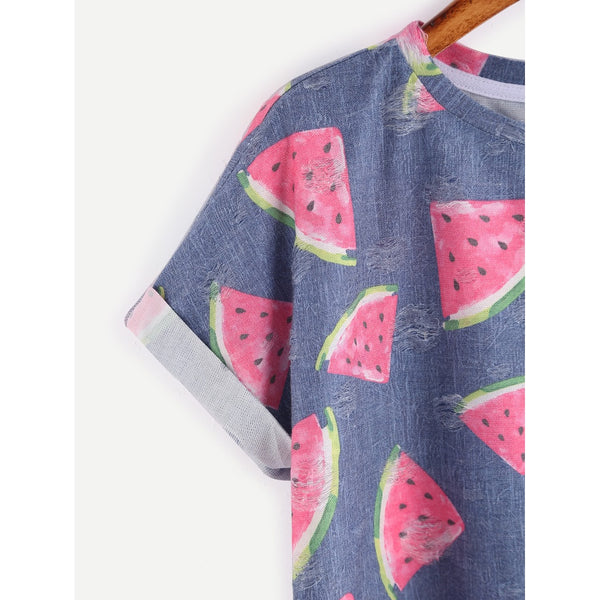 Allover Watermelon Print Frayed Dot Cuffed Tee