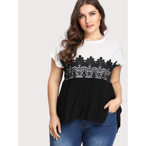Two Tone Lace Applique T-shirt - Anabella's