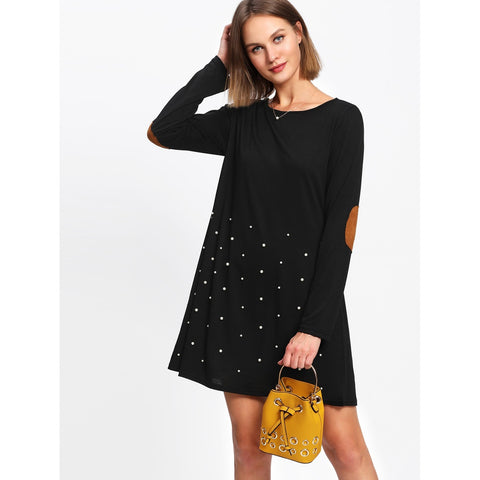 Pearl Beading Elbow Patch Tee Dress Black