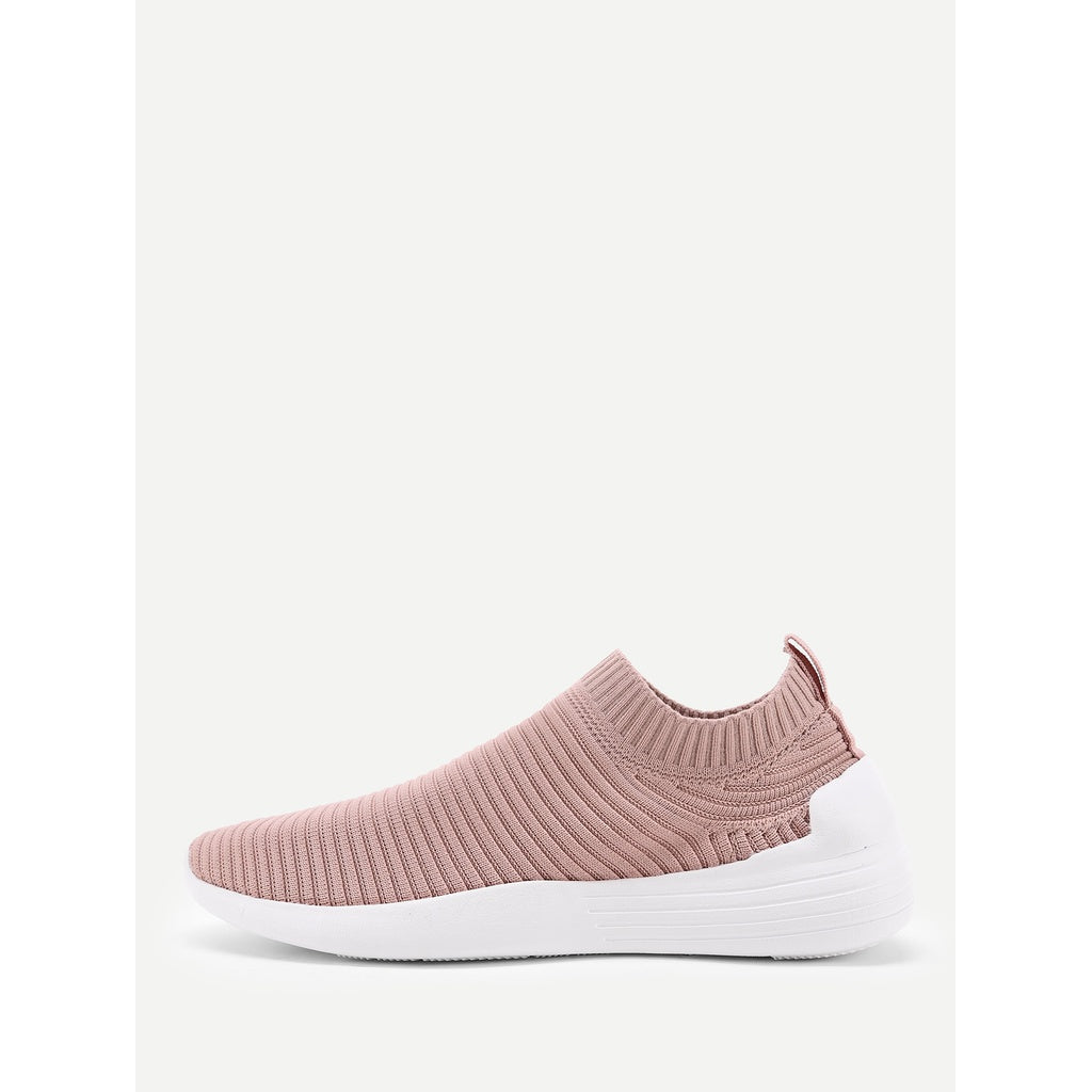 Knit Design Low Top Sneakers PINK - Anabella's