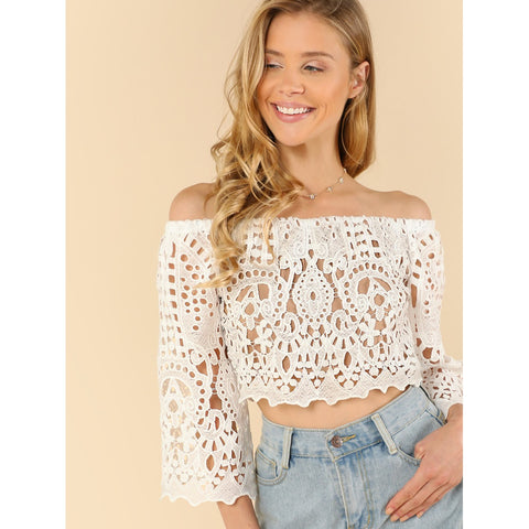 Embroidered Lace Overlay Bardot Blouse
