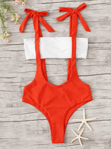 a1d2aa728dc Bandeau With Knotted Suspender Two Piece Swimwear | Anabella's