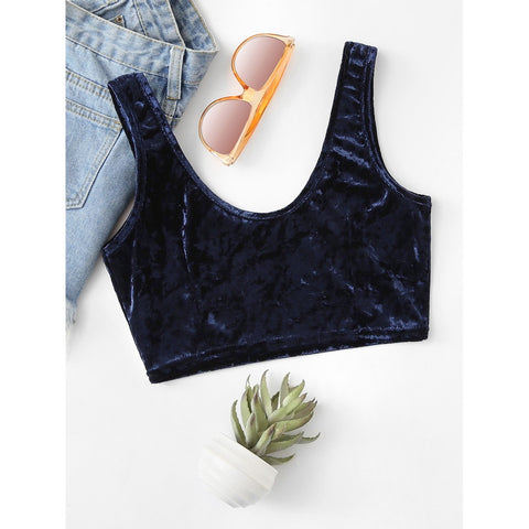 Crushed Velvet Crop Top