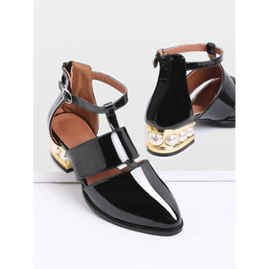 Black Pearl Design Back Zipper Patent Leather Shoes - Anabella's