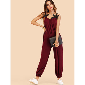 Bow Detail Oversized Pinafore Jumpsuit