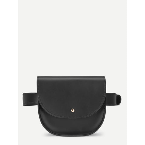 Flap Bum Bag With Adjustable Strap Black
