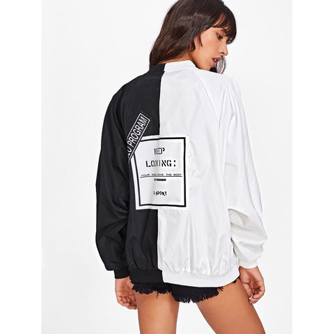 Two Tone Patch Back Letter Ribbon Detail Bomber Jacket Black/White