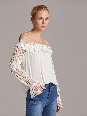 Off Shoulder Guipure Lace Trim Bell Sleeve Top
