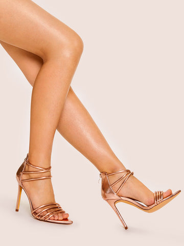 Metallic Strappy Stiletto Heels