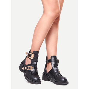 Buckle Strap Chunky Heel Shoes