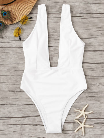 Plunge Neck One Piece Swimsuit